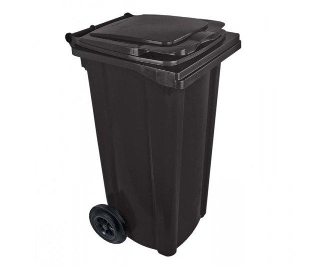 Popelnice plastová 120l s kolečky - černá