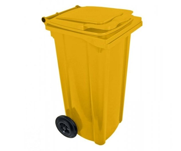 Popelnice plastová 120l s kolečky - žlutá