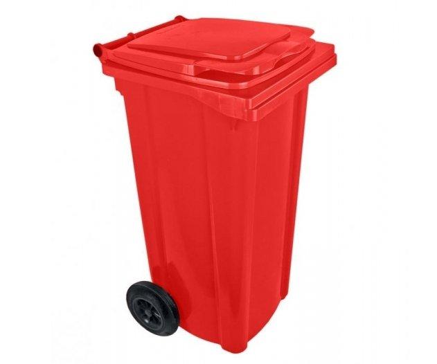 Popelnice plastová 120l s kolečky - červená