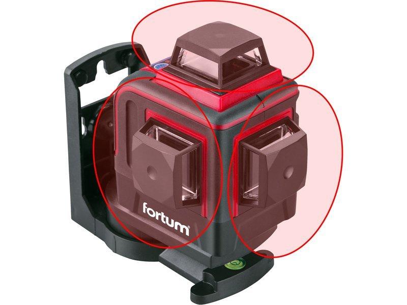 Laser křížový 3D červený Fortum 4780215