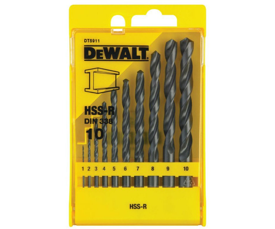 Sada vrtáků do kovu HSS-R 10ks 1-10mm DeWALT DT5911