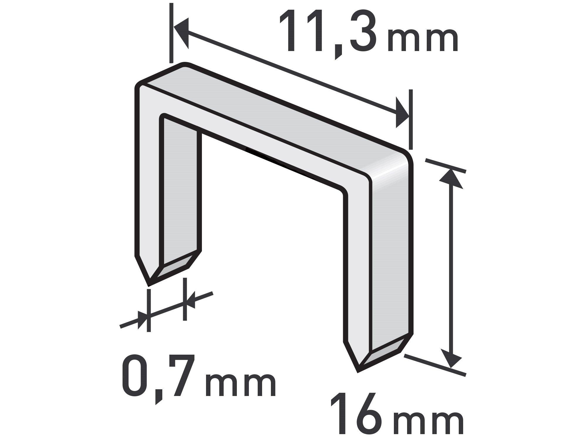 Spony 1000ks 11,3x0,52x0,7mm extra tvrdé Extol Premium - 16mm