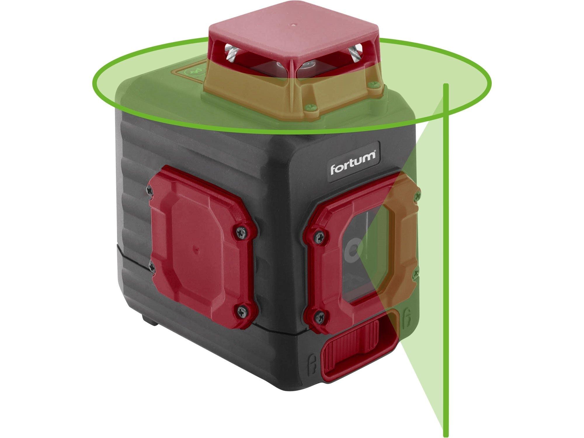 Laser křížový 360° aku USB zelený Fortum 4780209