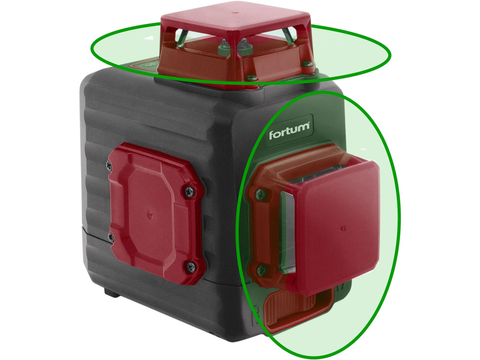 Laser křížový 2x360° aku USB zelený Fortum 4780214