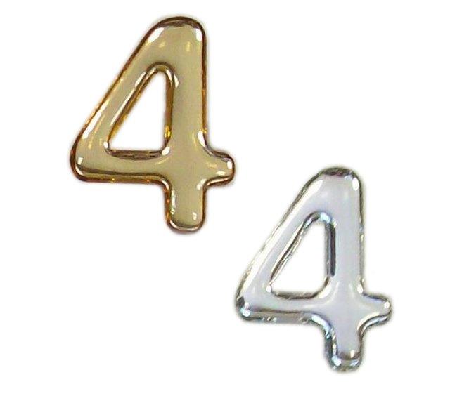 """Číslice domovní logoprint samolepící - 37mm stříbrný """"4"""" C37"""