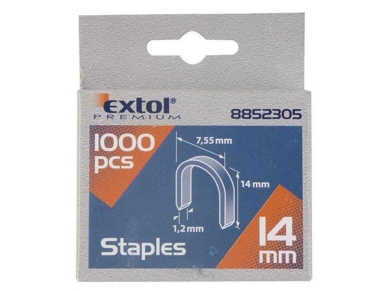 Spony oblé 1000ks 14mm 7,55x0,52x1,2mm Extol Premium 8852305