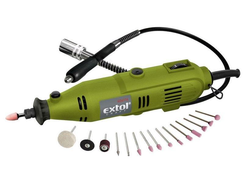 Extol Craft 404116 přímá bruska s přísl. 40ks + nástavec 130W