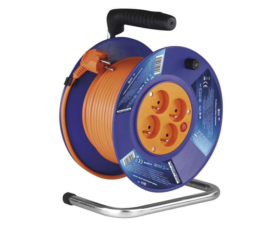Šňůra prodlužovací na bubnu 4 zásuvky - 50m 3x1.5