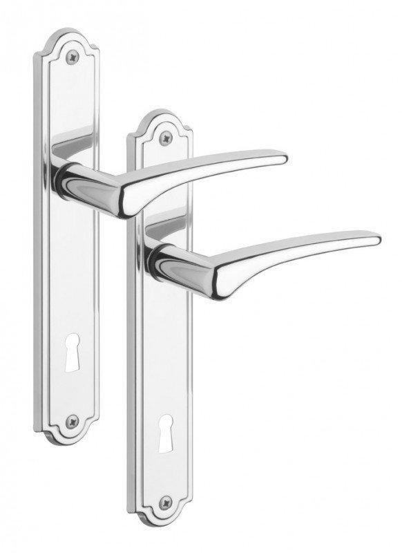 Rostex Atlantis štítové dveřní kování - klika-knoflík pro klíč 90mm Ti
