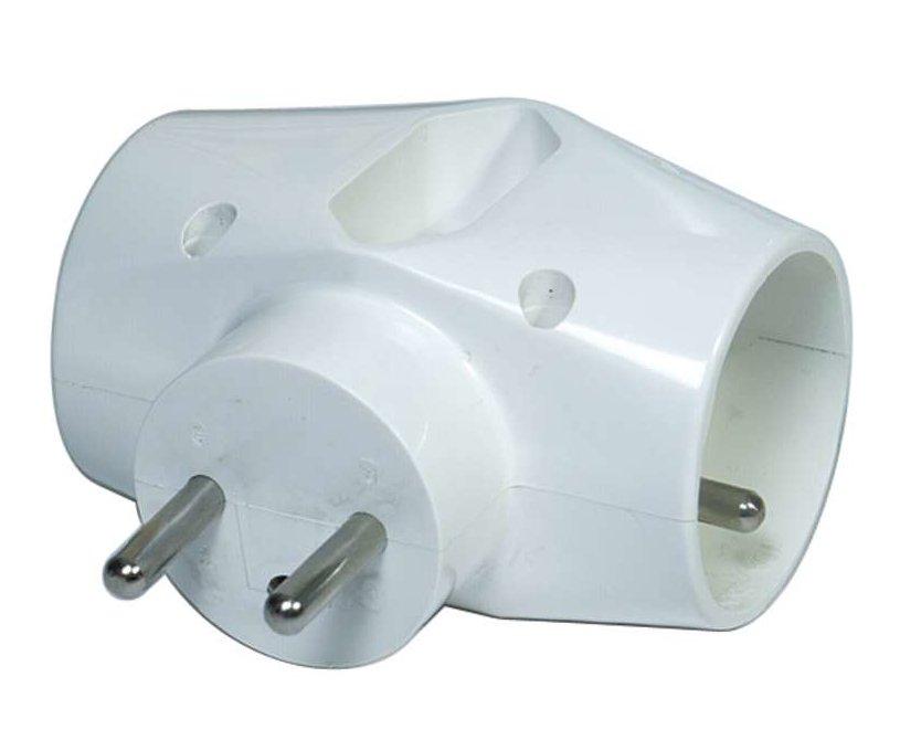 Zásuvka rozbočovací 2xkulatá 1xplochá bílá